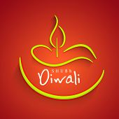 Indian festival of lights, Shubh Diwali (Happy Diwali) greeting card with stylish illustration of oi