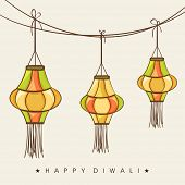 Indian festival of lights, Happy Diwali concept with colorful hanging lamps on abstract background.
