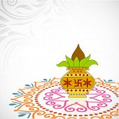Indian festival of lights, Happy Diwali background with mangal kalash on floral decorated abstract b