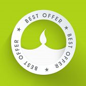 Happy Diwali best offer tag, sticker or label with oil lit lamp design on green background.