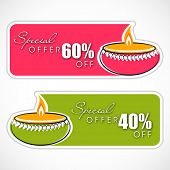 Happy Diwali discount tags, stickers or labels with colorful oil lit lamps design on abstract grey b