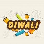 Indian festival of lights, Happy Diwali vintage background with colorful fire crackers.