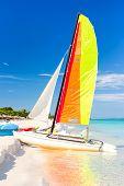 Colorful sailing boat at the famous Varadero beach at the Caribbean sea in Cuba