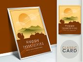 Happy Thanksgiving vintage greeting card with silhouette of turkey bird on morning nature background