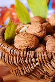 Basket With Fresh Walnuts