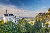 image of bavarian alps  - Neuschwanstein Castle in the Bavarian Alps of Germany - JPG