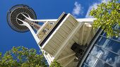 SEATTLE - JUNE 11 2013: Space Needle in Seattle on June 11, 2013 in Seattle, USA. The Space Needle w