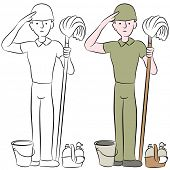 An image of a housecleaning army man saluting.