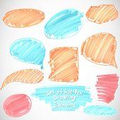 Set of felt pen paint stains