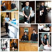 stock photo of housekeeper  - Hotel collage - JPG