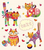 Greeting card with beautiful cats