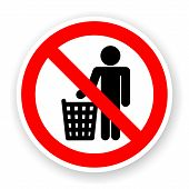 Sticker Of No Dumped Rubbish Sign