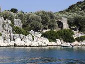 Ruins of a Byzantine basilica .