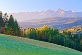 Dawn Over The High Tatra Mountains. Carpathians, Podhale, Poland.