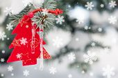 christmas tree toy in snowfall decoration|