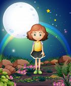 Illustration of a girl standing outdoor under the bright fullmoon