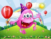 stock photo of hilltop  - Illustration of a happy pink beanie monster jumping at the hilltop - JPG