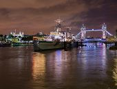 Hms Belfast On River Thames