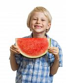 Cute Boy Holding Slice Of Water Melon