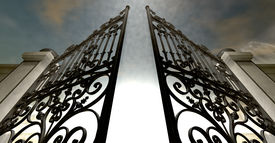 foto of entryway  - A set of ornate gates to heaven opening under an ethereal light and cloudy afterlife - JPG
