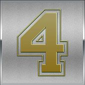 Gold On Silver Number 4 Position, Place Sign