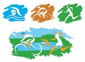 foto of triathlon  - Icons symbolizing triathlon - JPG