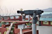 Tourist Binoculars At Octagonal Pavilion Of Bugak Skyway In Seoul, Korea