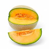 foto of cantaloupe  - Fresh ripe cantaloupe melon  fruit  slices on white - JPG