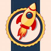 Card With Space Rocket. Vector Illustration.