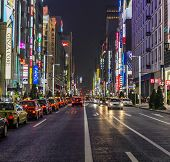 Rows Of Taxies Parked At Late Night In Ginza, Tokyo