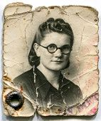 LODZ, POLAND, CIRCA 1948: Vintage portrait of woman in glasses