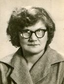LODZ, POLAND, CIRCA 1960's: Vintage portrait of woman in glasses