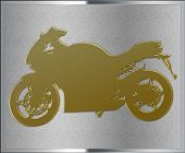Gold On Silver Motorcycle Emblem