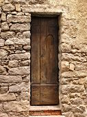 Narrow Ancient Wooden Door