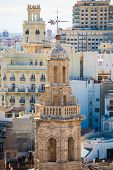 Valencia aerial skyline with Santa Catalina belfry tower at Spain