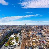 Valencia aerial skyline with Plaza de la Reina at Spain