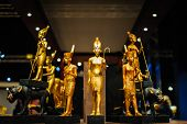 picture of pharaoh  - Golden egyptian pharaoh figures in a museum - JPG