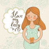 Cute romantic shower card with happy pregnant woman. Beautiful lady loves her baby. Floral vintage d