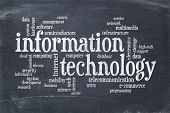 information technology word cloud on a vintage blackboard