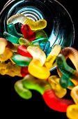 image of gummy bear  - gummy bears candy assorted on a dark background - JPG