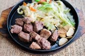 Sliced Dice Beef Steak With Fried Vegetable