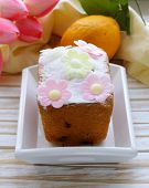 Easter festive fruitcake decorated with flowers
