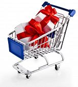 Shopping basket cart with holyday gift boxes - isolated on white background