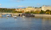 Boats On The Prague River Vltava