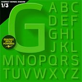 Modern flat alphabet for infographics with long ambient shadow. Compact Medium  Green