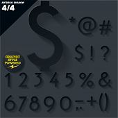 Modern flat alphabet for infographics with long ambient shadow. Vector set. Black  Symbols