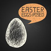Easter Hand-drawn Egg With Humorous Phrase On Chalkboard Background