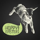 Easter Hand-drawn Jumping Lamb With Humorous Phrase On Chalkboard Background