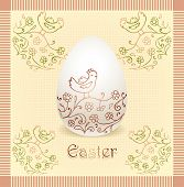 Easter egg with hand drawing beige color