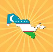 Uzbekistan map flag on sunburst vector illustration